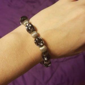 Black Silver Bead Bracelet